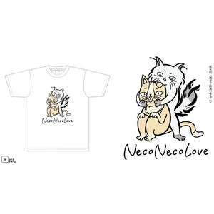 Tシャツ「NecoNecoLove」(白・アプリコット)